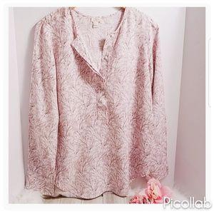 J. CREW Pink/White/Brown Floral Print Blouse